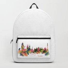 Barcelona Watercolor Skyline Backpack