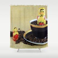 russian Shower Curtains featuring Russian Coffee by Falko Follert Art-FF77