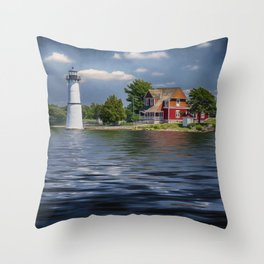 Rock Island Light - Clayton, NY Throw Pillow