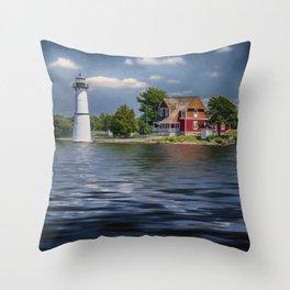Rock Island Light - Clayton, NY Throw Pillow