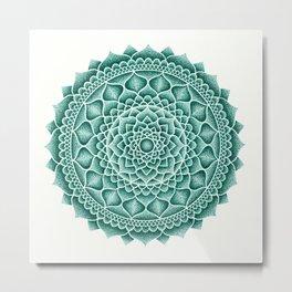 Teal Sand Mandala Metal Print