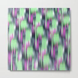 abstract ikat in lime and pink Metal Print