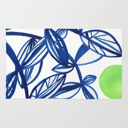 Navy blue and lime green abstract leaves Rug
