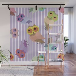 Owls on striped pattern Wall Mural