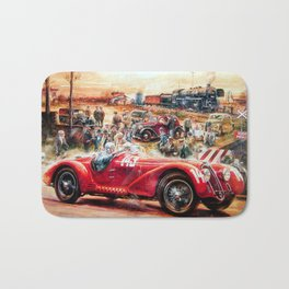 Retro racing car painting Bath Mat