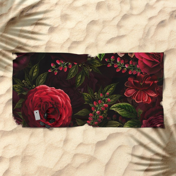 Mystical Night Roses Beach Towel