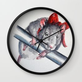 Rat in a bow Wall Clock
