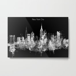 New York City Inverted Watercolor Skyline Metal Print
