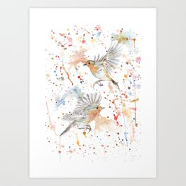 """Watercolor Painting of Picture """"Robins"""" Art Print"""