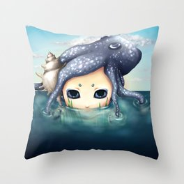The monster in the sea is the water that reflects. Throw Pillow