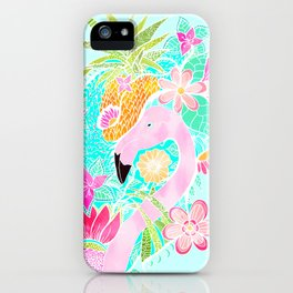 Tropical summer watercolor flamingo floral pineapple iPhone Case