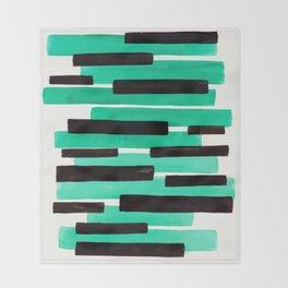 Pastel Teal Primitive Stripes Mid Century Modern Minimalist Watercolor Gouache Painting Colorful Str Throw Blanket