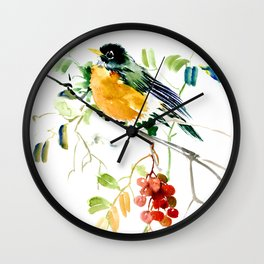 American Robin bird art Wall Clock