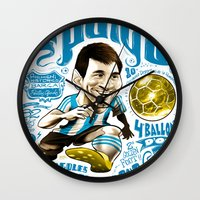 argentina Wall Clocks featuring Pulga Argentina by Gonza Rodriguez