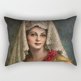 Spanish Beauty with Lace Mantilla and Comb by Jesus Helguera Rectangular Pillow