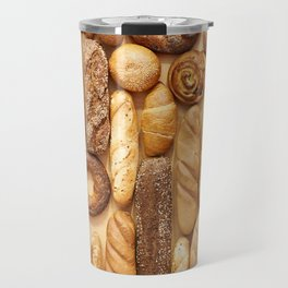 Bread baking rolls and croissants background Travel Mug