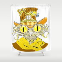steam punk Shower Curtains featuring Steam Punk Cat by J&C Creations