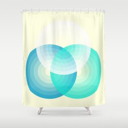 Three colour circles inverted, inspired by Lacouture's Répertoire chromatique Shower Curtain