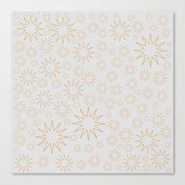 Golden stars on white grey Canvas Print