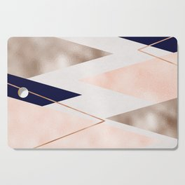 Rose gold french navy geometric Cutting Board