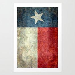 Texas flag, Retro style Vertical Banner Art Print