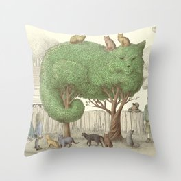 The Night Gardener - The Cat Tree Throw Pillow