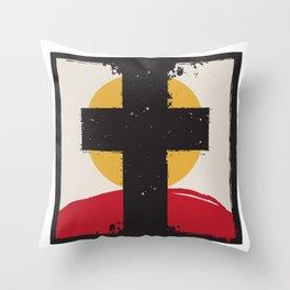 Cross and Sunset Throw Pillow