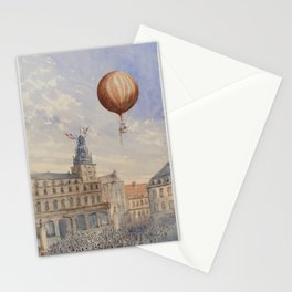 Balloon with two passengers hovering over a French town square by Camille Gravis Stationery Cards