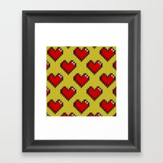 Knitted heart pattern - yellow Framed Art Print