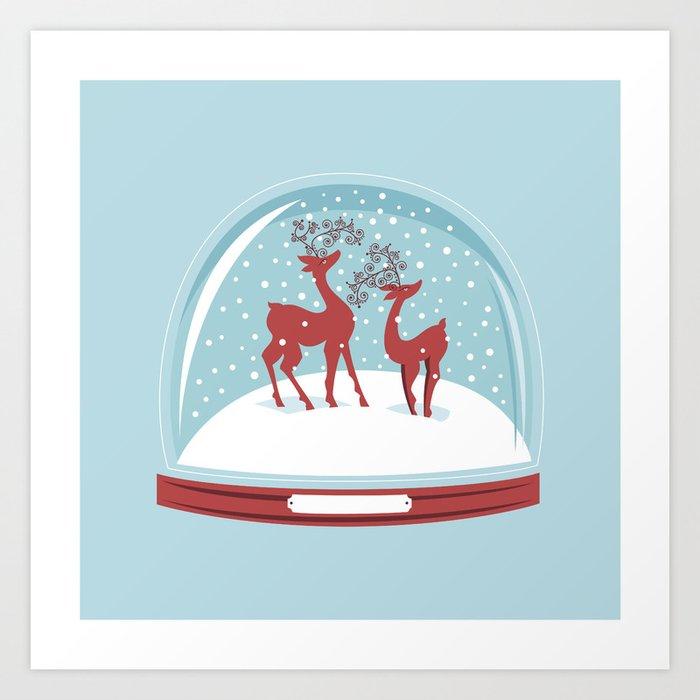 retro snow globe couple deer art print by rusanovska society6