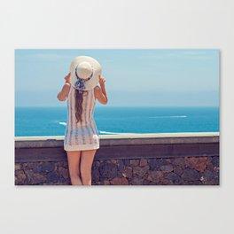 Summer Holiday Vibes / Woman & Ocean Canvas Print