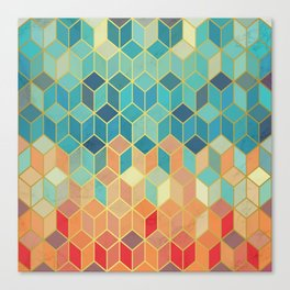 Colorful Squares with Gold - Friendly Colors and Marble Texture Canvas Print