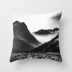 Mountains and Forest - Black and White Glacier National Park Throw Pillow