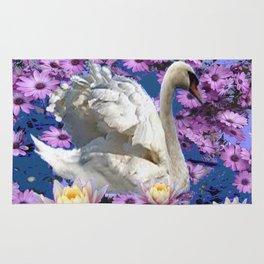 WHITE  SWAN LILAC FLOWERS WATER ART Rug