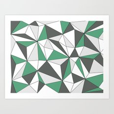 Geo - gray, green and white. Art Print
