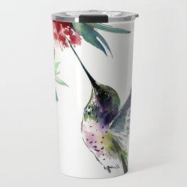 Hummingbird. elegant bird and flowers, minimalist bird art beautiful bird painting Travel Mug