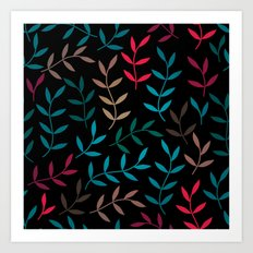 Dark Leaf Pattern Art Print