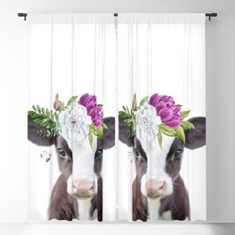 Baby Cow with Flower Crown Blackout Curtain
