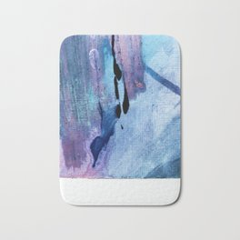 Pull: an abstract mixed media piece in blues, purple, black, and white Bath Mat