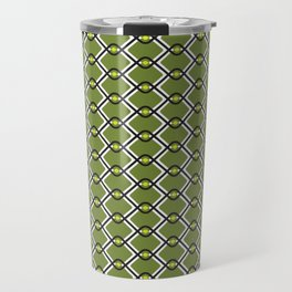 1960's Inspired Green, Yellow, Black and White Pattern Travel Mug