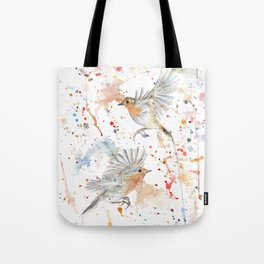 """Watercolor Painting of Picture """"Robins"""" Tote Bag"""