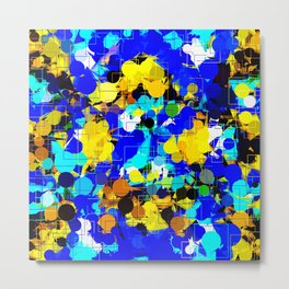 psychedelic geometric circle pattern and square pattern abstract in blue yellow brown Metal Print