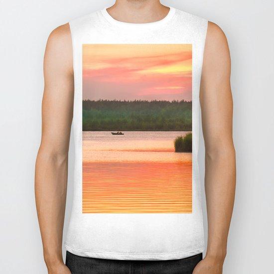 Summer sunset on Wild lake Biker Tank