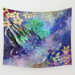 Praying Hands And The Cross By Annie Zeno  Wall Tapestry