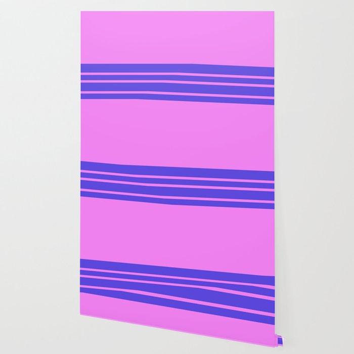 Violet Slate Stripes Blue Wall Wallpaper