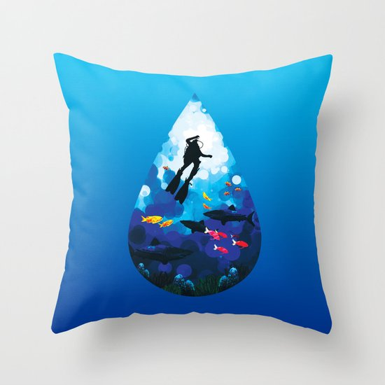 Diver of the Blue Throw Pillow