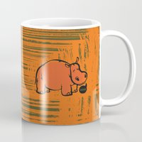 hippo Mugs featuring Hippo by ILINDESIGNS