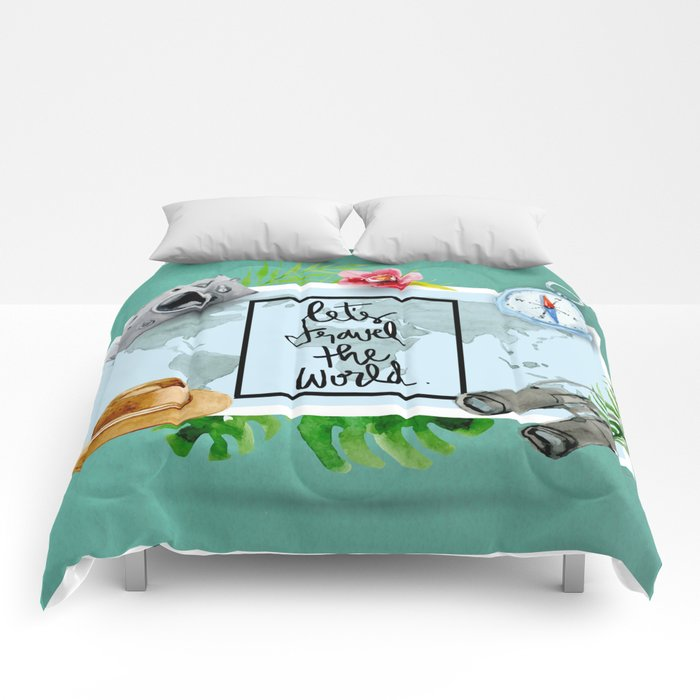 Lets Travel The World Quote  Comforters