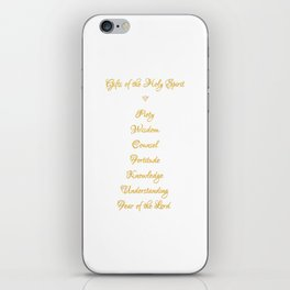 Gifts of The Holy Spirit in a 3-D Look Golden Script iPhone Skin