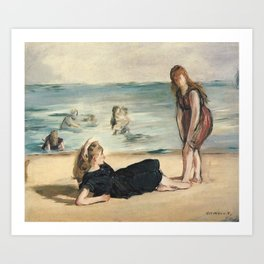 Manet - On the beach of Boulogne-sur-mer, 1868 Art Print